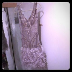 Sue Wong silver/grey beaded dress ostrich feathers